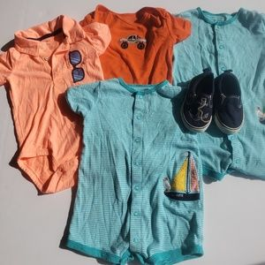 Lot of Baby Boy Rompers and nautical Design Shoe
